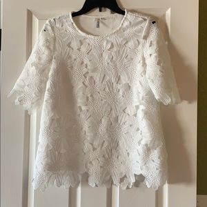 Journey Five White Flower Blouse, XL Like New